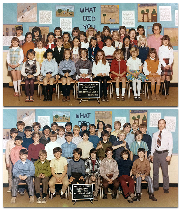 Two color class photographs, one above the other, from the 1971 to 1972 school year. The picture on top is an all-girls class. The picture on the bottom is an all-boys class. There are about 30 children in each class.