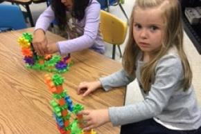 Kindergarten students in STEAM class
